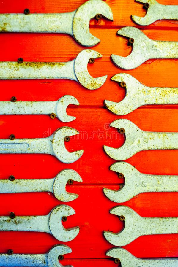 English keys on red background. Old and used english keys on red background royalty free stock images