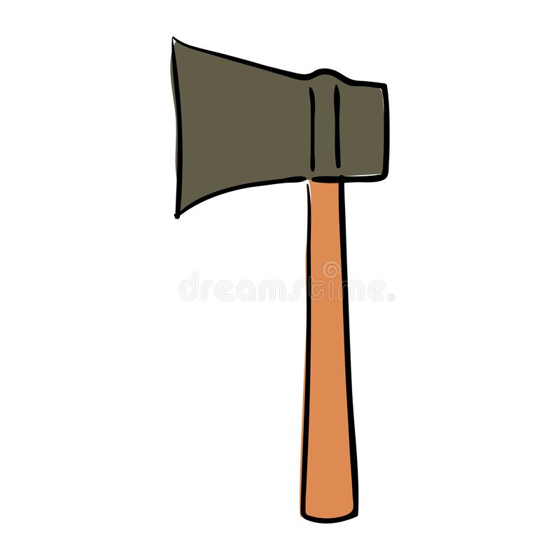 Old used hatchet ax with wooden handle tool isolated on white background. Sketch style. camping royalty free illustration