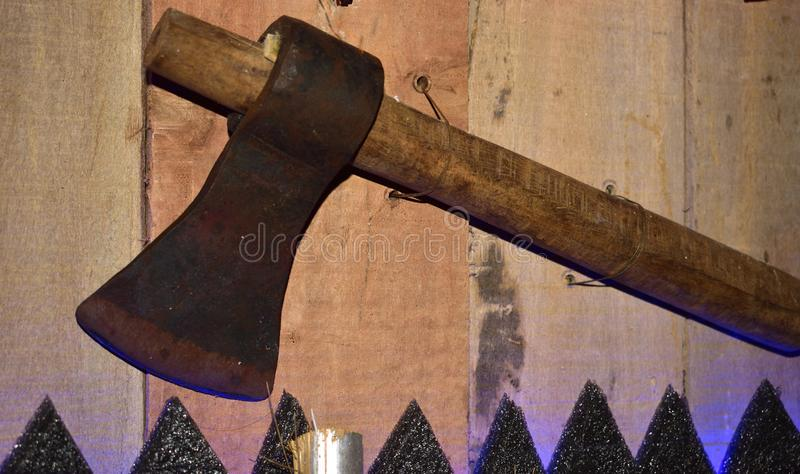 Old used hatchet ax with wooden handle tool  on white background royalty free stock images