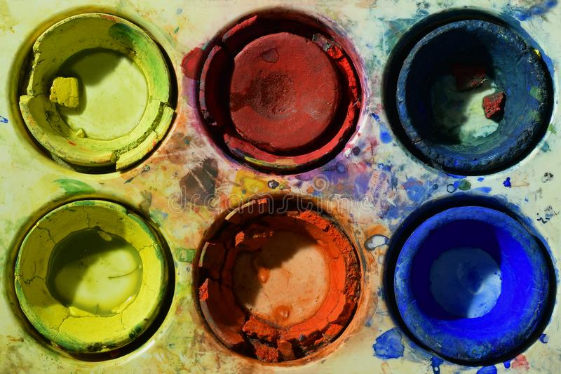 Old used primary colors water color paint box royalty free stock image