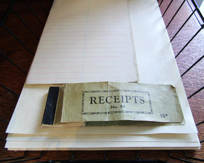 Old used receipt book royalty free stock image