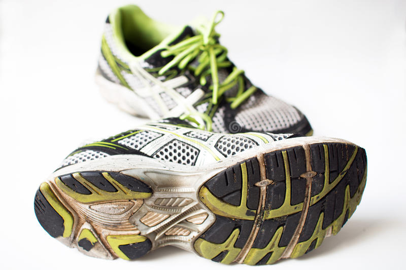 Old used sport shoes stock photos