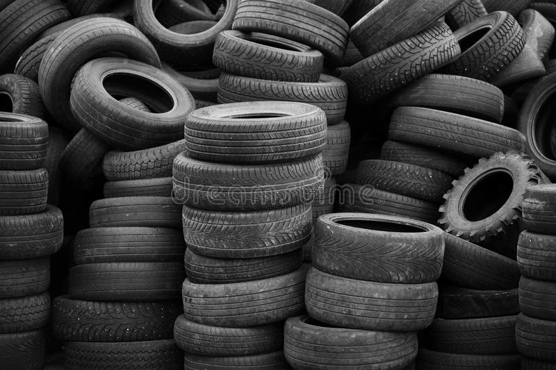 Old used tires stock images