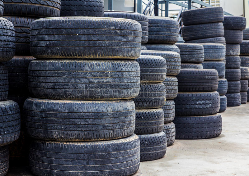 Old used tires royalty free stock photo