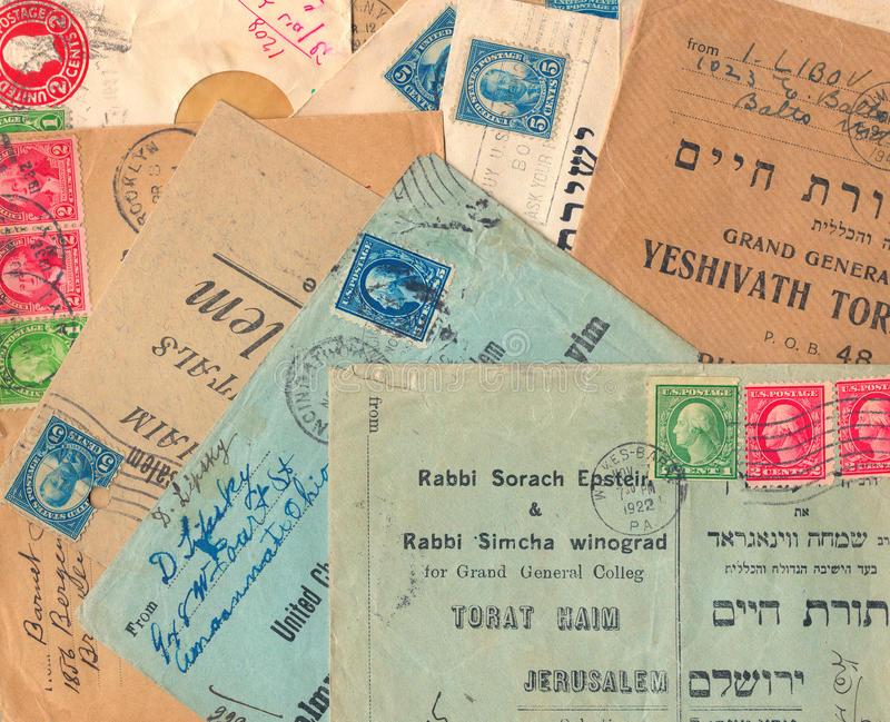 Old used United States envelopes. USA - CIRCA 1922: Old used United States envelopes (campaign posters) and stamps sent to the Jerusalem Grand General College ( stock photography