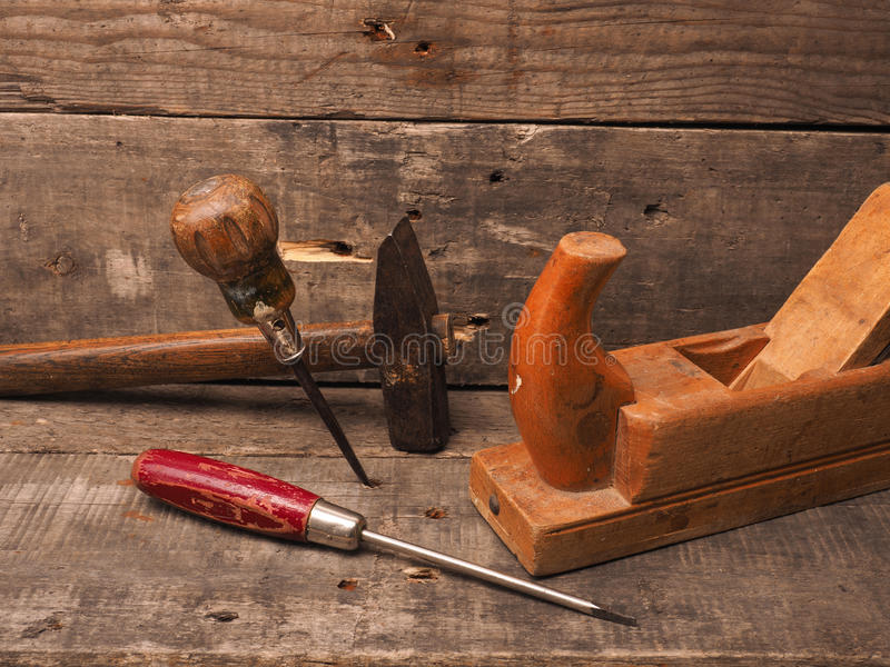 Old used wood worker tools royalty free stock photography