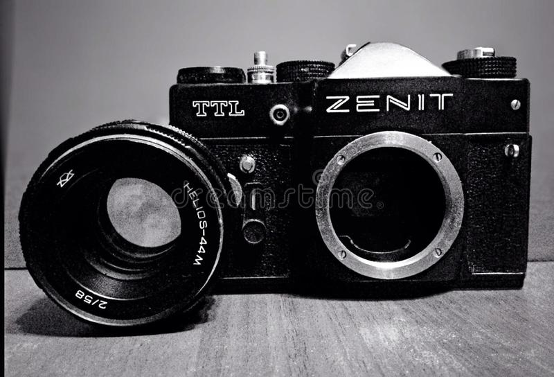 Old USSR camera Zenit stock photo