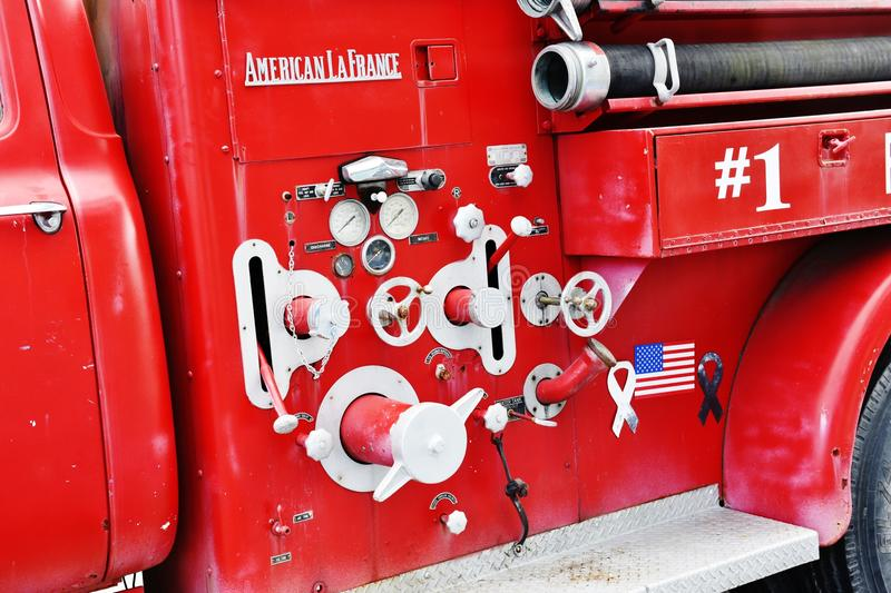 Old v8 ford fire truck hydraulic control south carolina usa stock photography