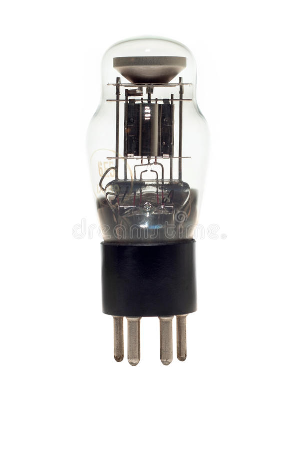 Old vacuum tube isolated on white stock photos