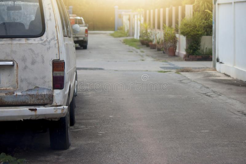 Old van car in city. Old van car parking in the village on day stock photo