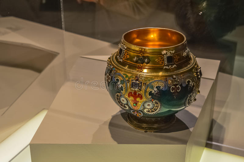Old royal Faberge bowl with gems at the museum stock image