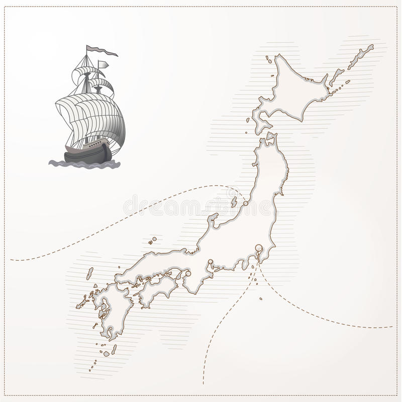 Old Vector Japan Map Stock Image Image - Japan map sketch