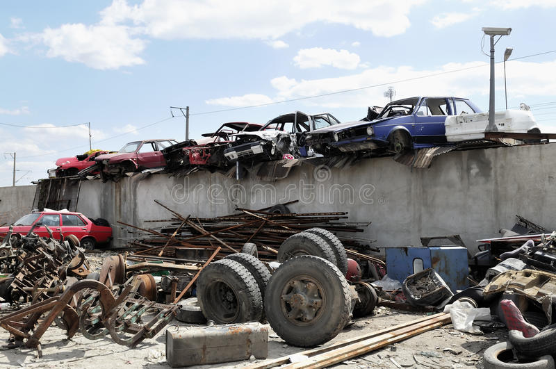 Download Old Vehicles In An Auto Salvage Yard Stock Photo - Image of scrap, stacked: 19169210