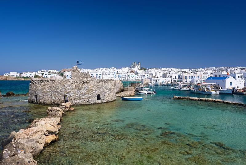 Old Venetian castle in Naoussa village on Paros island, Cyclades stock image