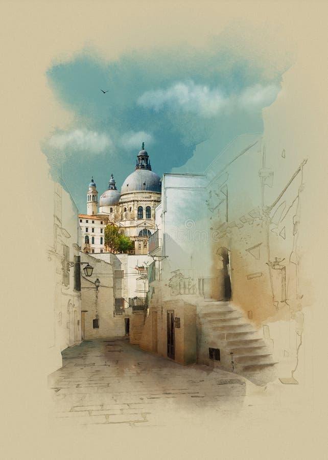 Old Venetian landscape. Italy. Watercolor sketch stock illustration