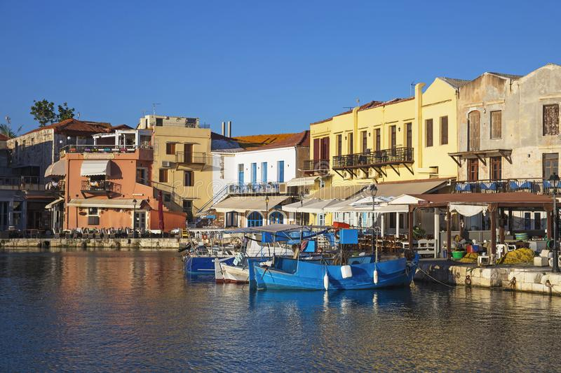 Old Venetian port of Rethymno,Greek island Crete royalty free stock images