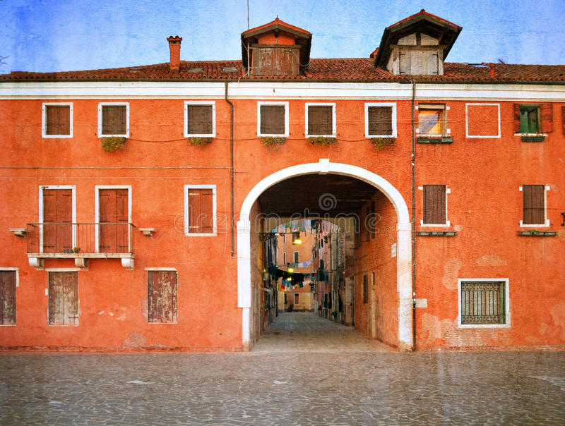 Old Venetian yard, Italy.Photo in old color. Image style royalty free stock images