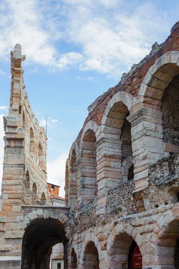 Old Verona, Italy, UNESCO World Heritage. VERONA, ITALY - JUN 26, 2014: Verona Arena (Arena di Verona), a Roman amphitheatre in Piazza Bra in Verona, Italy. It stock photography