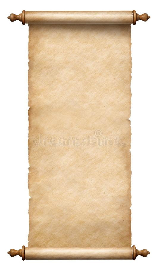 Free Old Vertical Paper Scroll Or Parchment Isolated Stock Images - 163032714