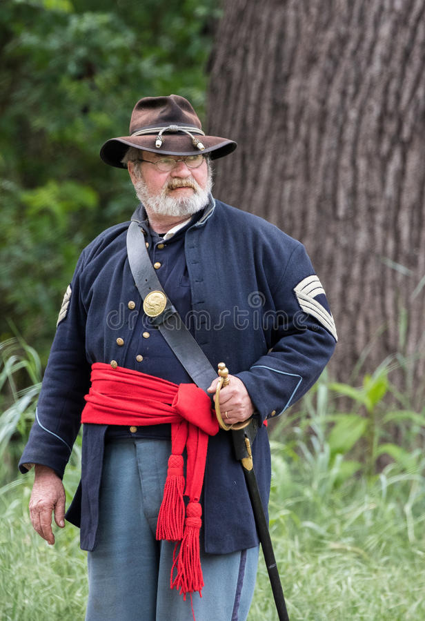 Old Veteran of the North. A Civil War era soldier at the Dog Island reenactment in Red Bluff, California royalty free stock image
