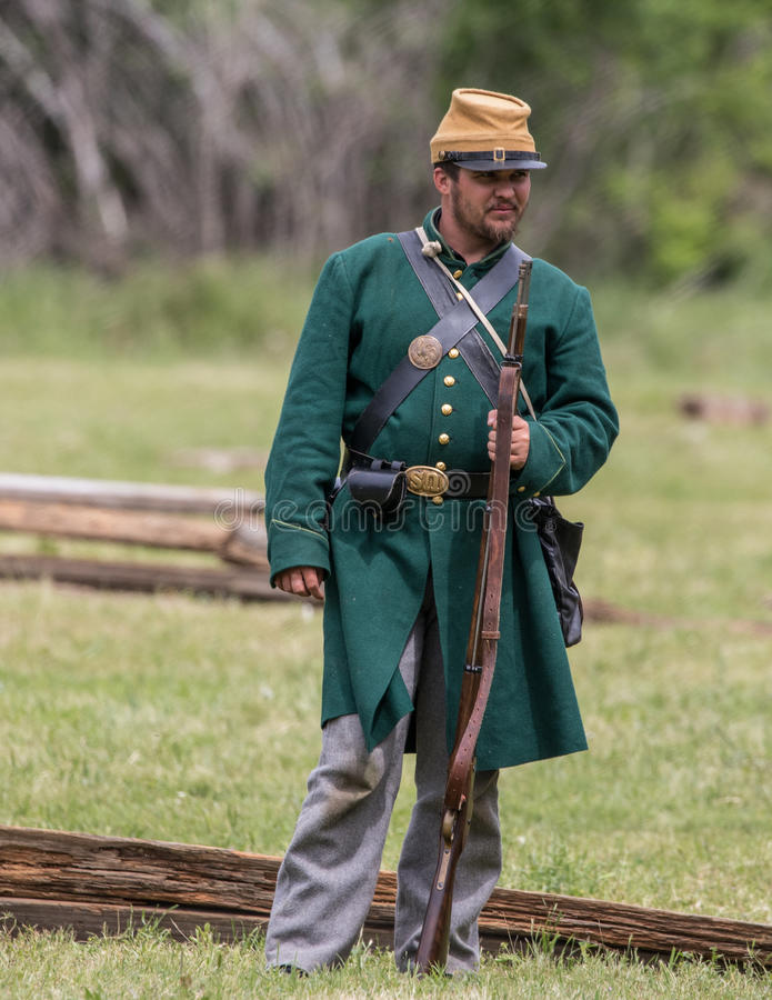 Old Veteran of the South. A Civil War era soldier at the Dog Island reenactment in Red Bluff, California royalty free stock photo