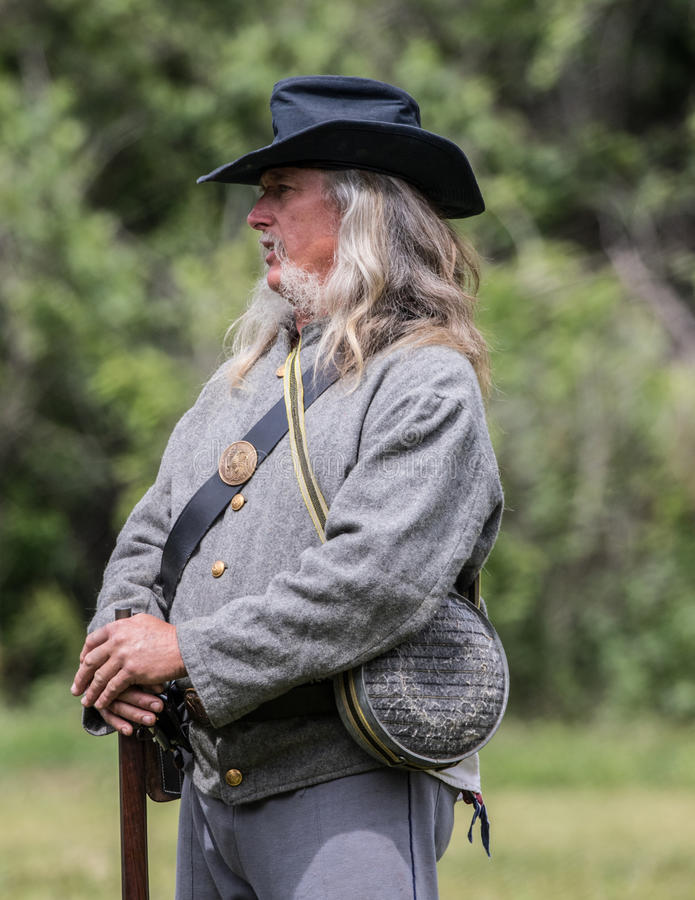 Old Veteran of the South. A Civil War era soldier at the Dog Island reenactment in Red Bluff, California stock photography