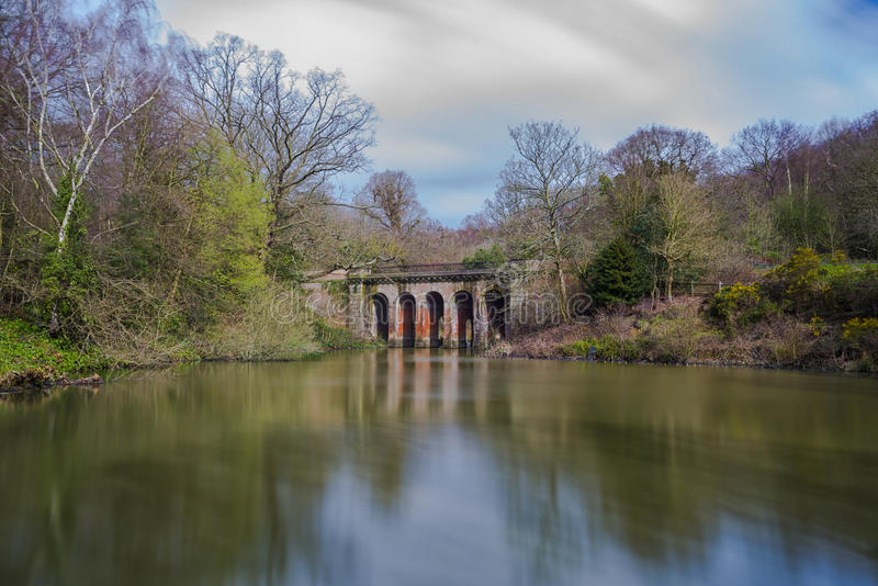 Old viaduct in Hampstead Heath park royalty free stock photo