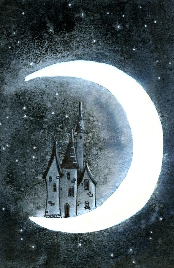 Old victorian house in cosmos on the moon. stock photo