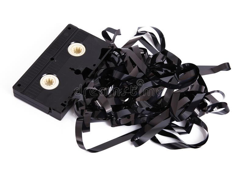 Video cassette tape on white background. Old video cassette tape on white background stock images