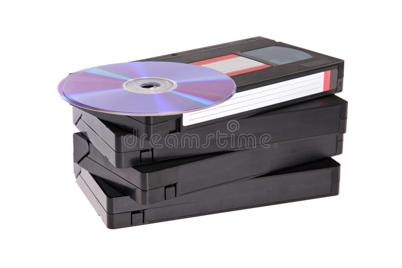 Download Old Video Cassette Tapes With DVD Discs Stock Image - Image: 11105155