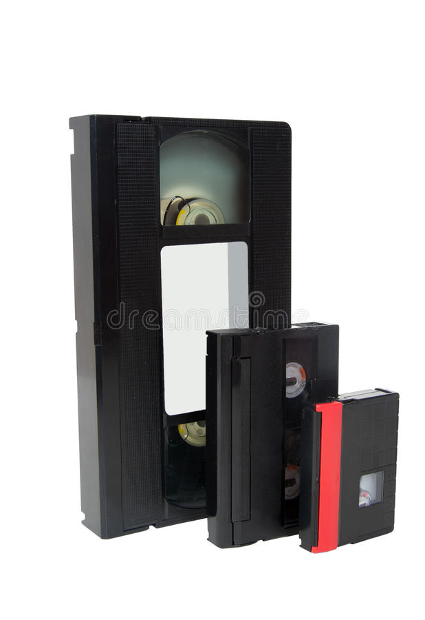 Old video cassette tapes vhs hi8 dv stock photography