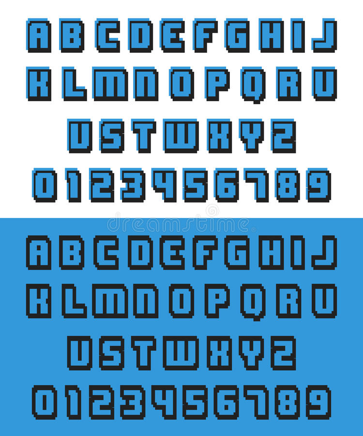 Old video game font. Alphabet pixel font. Letters and numbers old video game design. Vector illustration stock illustration