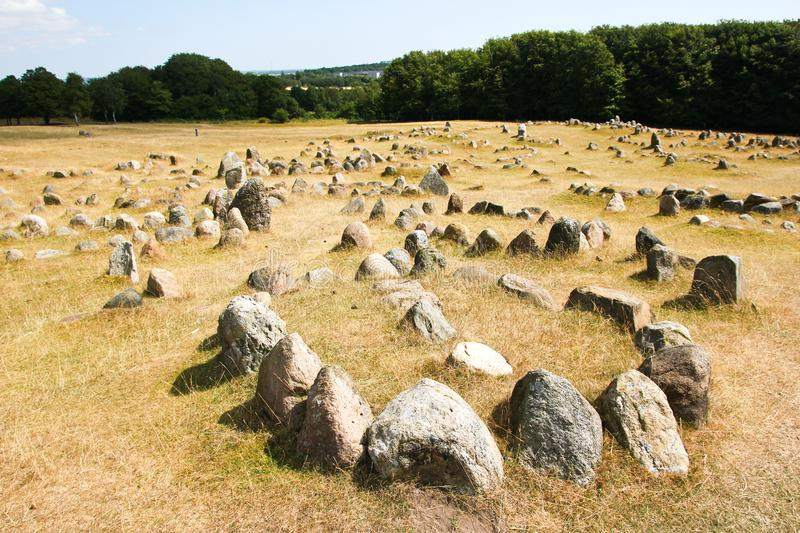 The old viking cemetery in Aalborg in Denmark. Called Lindholm Høje. Serves as a free time park for the people and tourists stock photography