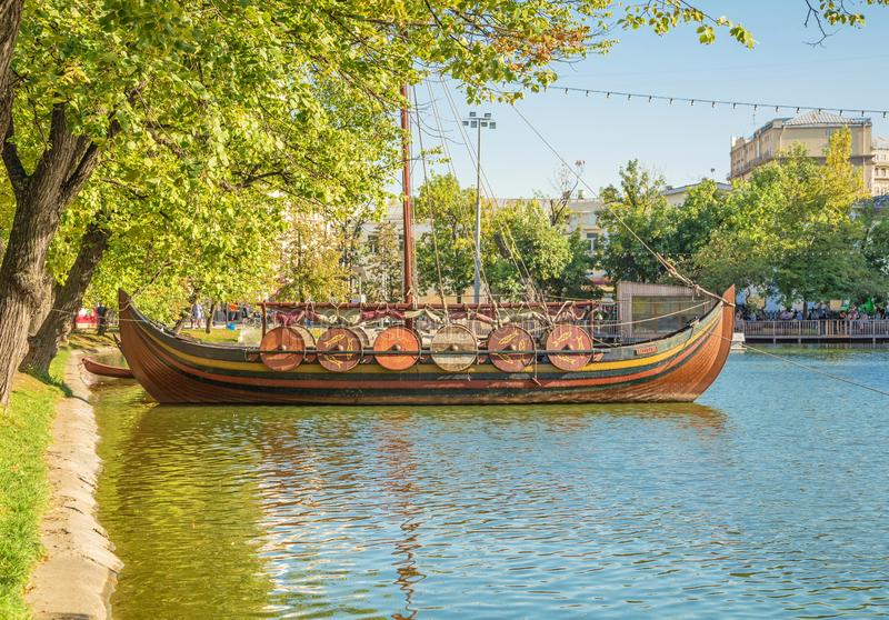 Old Viking wooden ship royalty free stock photography