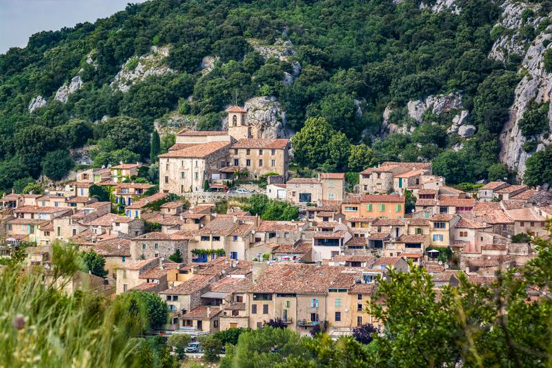 VVillage of Bauduen on the shore of the Lac de Sainte-Croix, in the South of France. Old village of Bauduen on the shore of the Lac de Sainte-Croix, in the South stock images