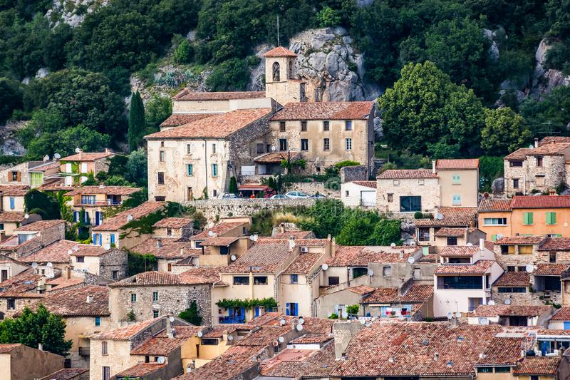 VVillage of Bauduen on the shore of the Lac de Sainte-Croix, in the South of France. Old village of Bauduen on the shore of the Lac de Sainte-Croix, in the South stock photos