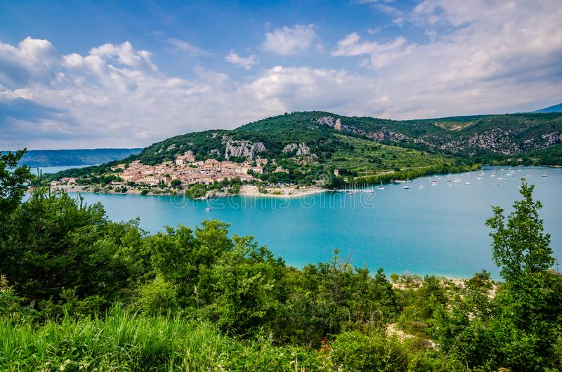 VVillage of Bauduen on the shore of the Lac de Sainte-Croix, in the South of France. Old village of Bauduen on the shore of the Lac de Sainte-Croix, in the South stock photography
