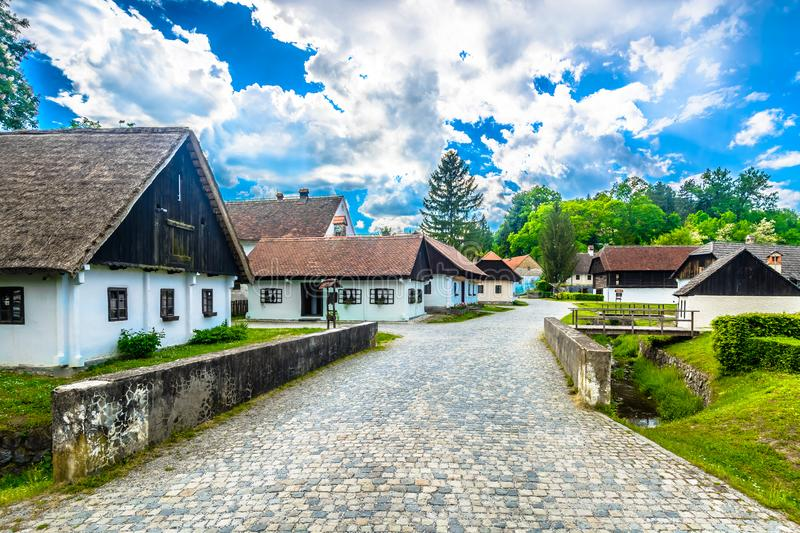 Old village Kumrovec in Croatia. Scenic view at promenade in old small town Kumrovec, well known travel destination in Croatia, Europe stock photo