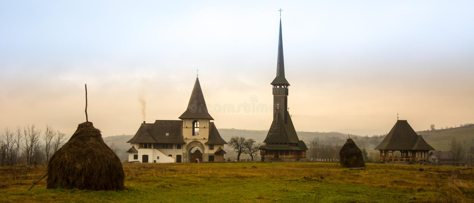 Old Village Medieval Romania Maramures Ieud Church Winter Snow Clouds stock image