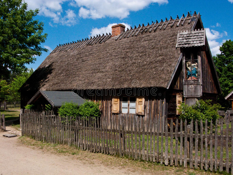 Old village in Poland. Old rural village scenic. Poland, Kashubian region (Wdzydze Kiszewskie royalty free stock image