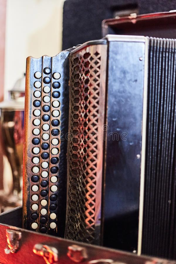 Old vintage accordion close up. Musical instrument.  royalty free stock photography