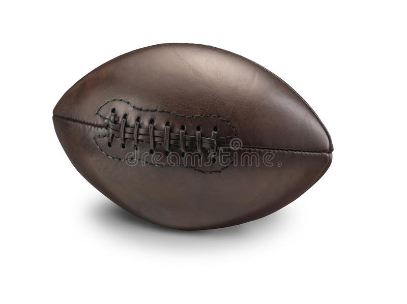 Old Vintage American Football. On White background with drop shadow stock image