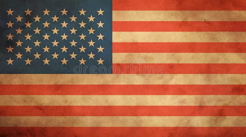 Old vintage American US flag over paper parchment. Old grunge vintage dirty faded American US national flag over background of brown kraft paper parchment royalty free stock photos