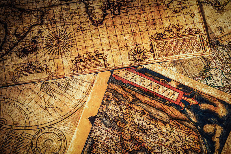 Old vintage ancient maps stock images