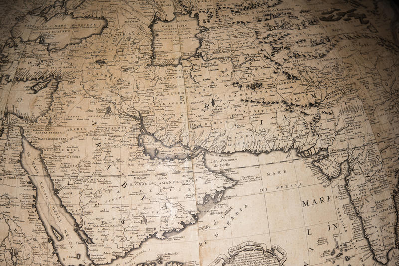Old vintage antique earth globe map. Detail stock photo