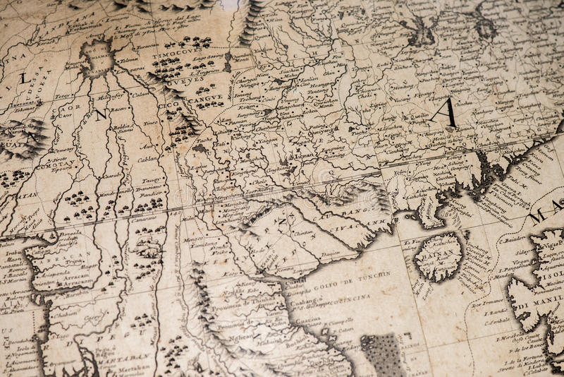 Old vintage antique earth globe map. Detail royalty free stock photography
