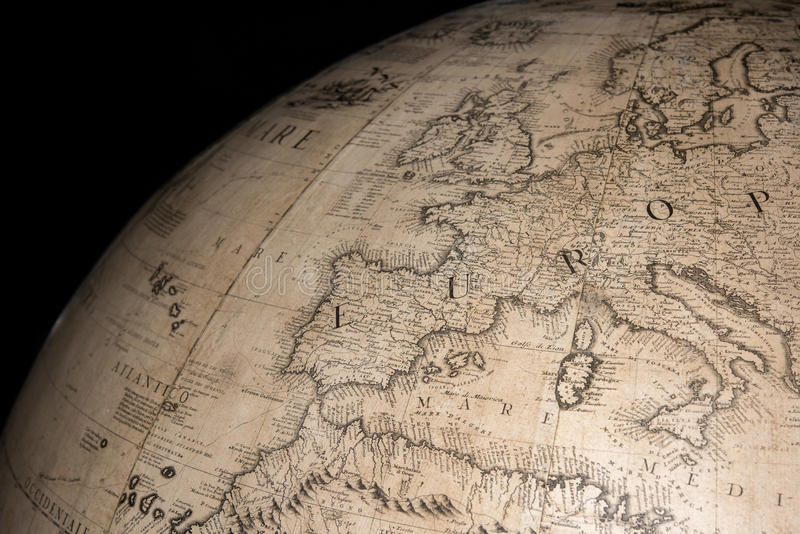 Old vintage antique earth globe map. Detail royalty free stock image