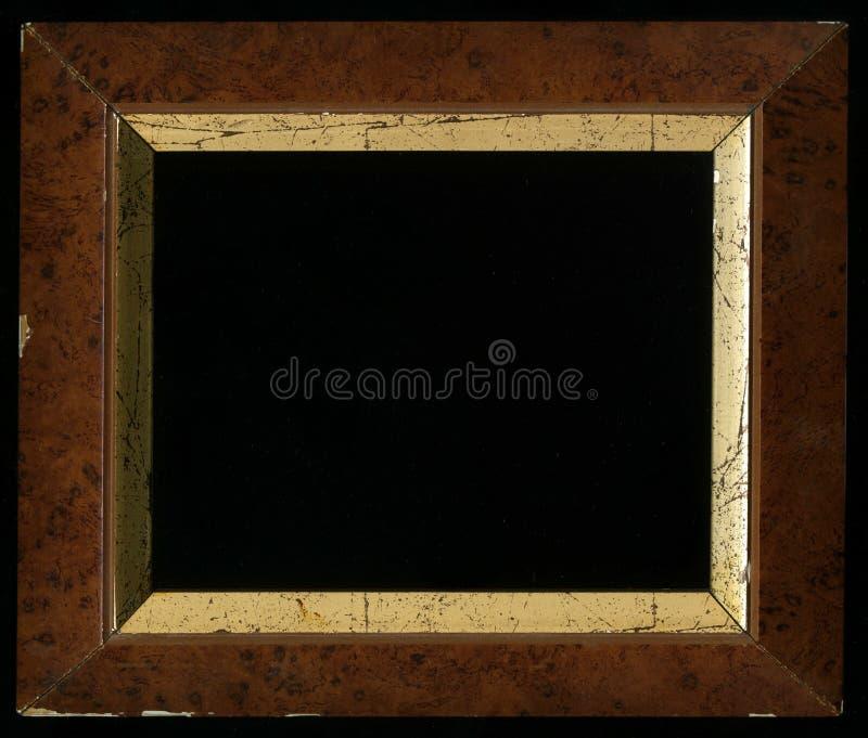 Old, vintage, antique frame on black background royalty free stock image