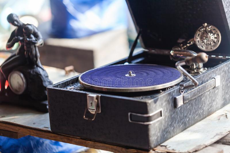 Old vintage antique gramophone royalty free stock photo