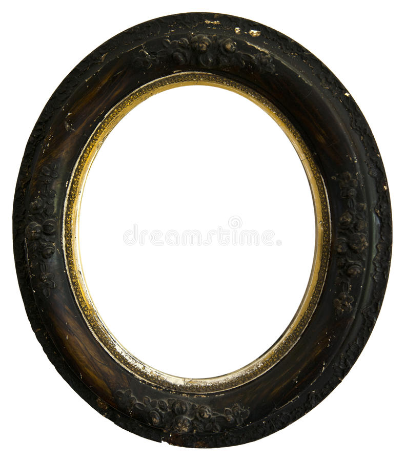 Old Vintage Antique Wood Round Picture Frame, Isolated. An oval or round antique picture frame. The vintage wood frame is weathered and scratched which adds to royalty free stock images